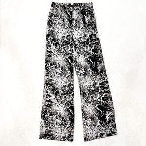BCBGMaxAzria black satin palazzo pants wide leg